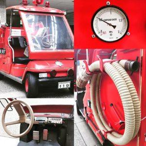 松山市コミセンで消防フェスタが開催されるようで、昔の消防車が陳列されてました。記念写真撮影もOKらしいよ。小さくてカワイイす。