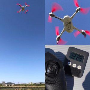 Hubsan H502Eのバッテリー限界への挑戦!GPSをキャッチして高度2〜3mでひたすらホバリング。風に流されたりもしたけれど、スペック通り12分きっちりフライトしました。ちょっと高度が上がったり下がったりしたけど、それはまあ致し方あるまい。うん、ご立派ご立派。