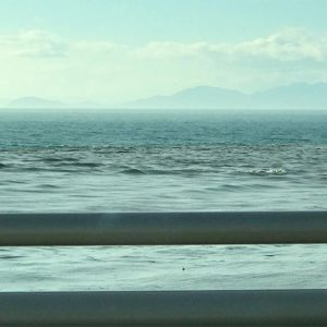 お仕事で伊方町に行った帰り。双海近くの海がすごく濁ってたんですよー。台風の影響と思うけど、風やら波で海底の砂やら何やらが巻き上げられたんですかね?いやぁ、台風、マジすげーわ。