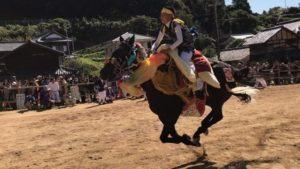 菊間町加茂神社のお供馬走り込み。すごいスピード!すごい迫力!これはすごいわ!生で見てほしい!
