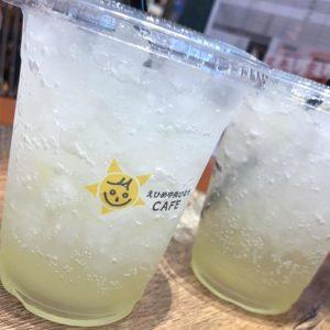 おひさま市のひなたカフェでレモンスカッシュをゴクゴク。昼間はメチャメチャ暑かったので絞りたて柑橘と炭酸がキーンときて旨かったぁ。