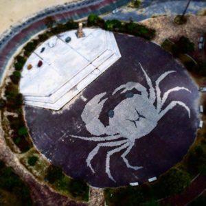 巨大ガニ、砂浜を襲撃!#空撮 #マビックミニ #mavicmini #愛媛県 #伊予市 #砂浜 #海浜公園 #五色姫海浜公園 #巨大ガニ #アート